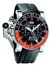 Replica Graham Chronofighter Oversize GMT Black Dial Black Rubber Men's Watches