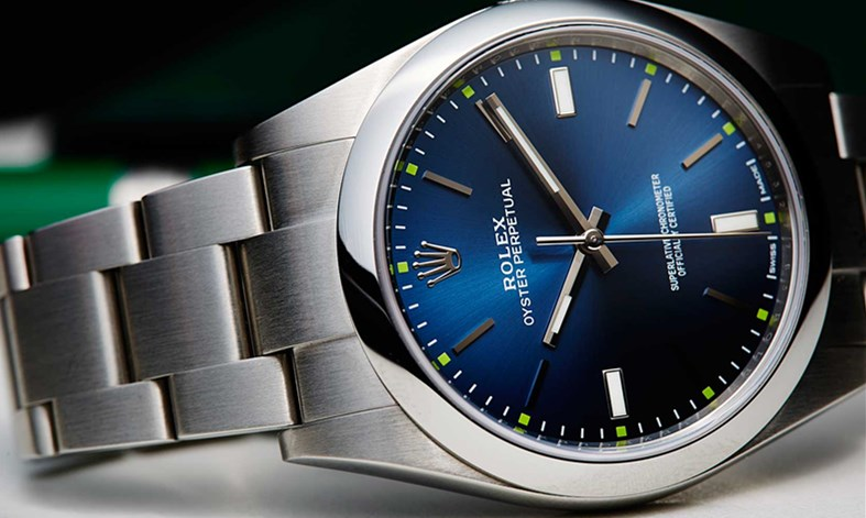 Fake Rolex Oyster Perpetual 114300 blue watches